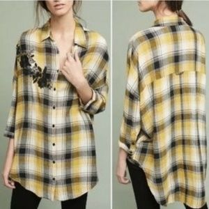 MAEVE Embroidered Plaid Tunic Top Shirt XS S